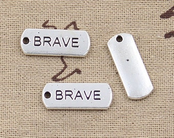 10 Brave Script Charms DIY Bracelet Or Necklace Tibetan Silver Word Charms Affirmation Charms #625