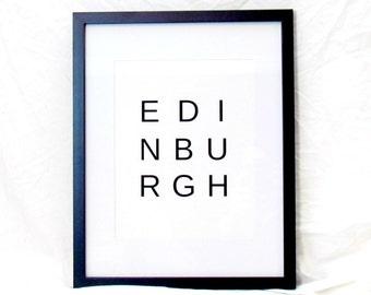 Edinburgh Travel Print Edinburgh Digital Wall Art Edinburgh Typography Print Instant Download