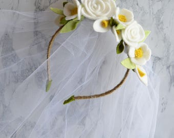 First Communion Floral Headband and Veil