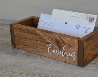 Desk Organizer/Envelope Box/Mail Holder/ Desk Organization/Wood Desk Organizer