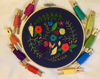Floral for Life -- Hand embroidered, 8 inch hoop art with bright botanical details on dark fabric