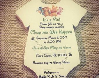 Winnie the Pooh Onesie Baby Shower Invite