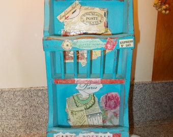 wood letter holder, wall pocket, letter caddy, mail container, farmhouse decor, shabby cottage chic, decoupage box, primitive decor