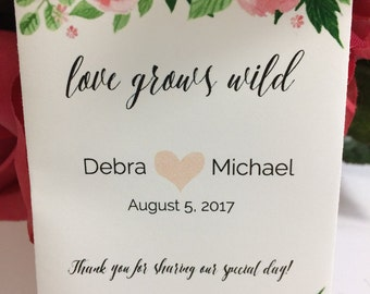Love Grows Wild Vivid Watercolor Floral 40 Wedding Favors Seed Packets Wildflower Seeds Custom Personalized