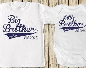 Personalised names Big Brother and little Brother matching top vest big sister little sister