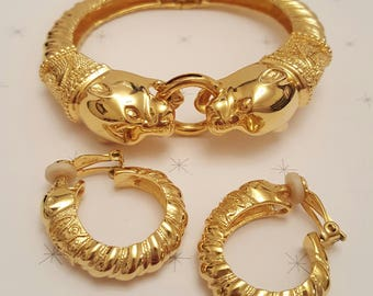 JOAN RIVERS Panther Bangle and Matching Earrings