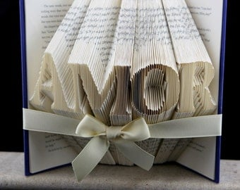 Valentines Day Book Art Gift, Custom Folded Book Gift For Him, Book Sculpture Valentines Boyfriend Gift, Personalized Valentines Day Gift
