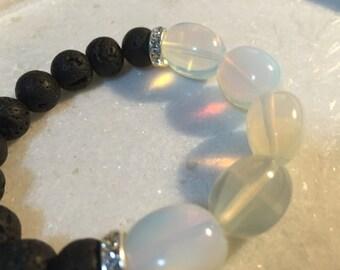 10mm Lava diffuser bracelet Opal, Swarovski