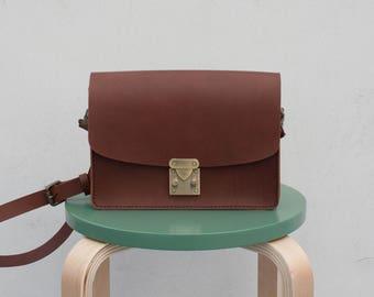 Leather Box Bag | Dark Brown Leather Bag | Smallbag Minibag Boxbag Crossbag Shoulderbag pochette | darun ShinyLake