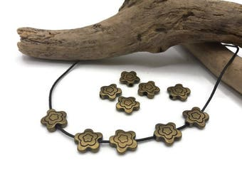 Flower beads - color brass - metal Tibetan Style - A023