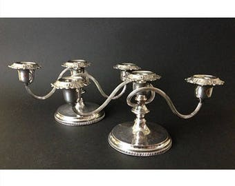 Pair of Victorian Reproduction Silverplate Candelabra