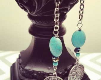 Bohochic earrings, turquoise and coin dangle earrings, chains and coins earrings, ethnic earrings, gemstone dangle earrings,  gifts for her