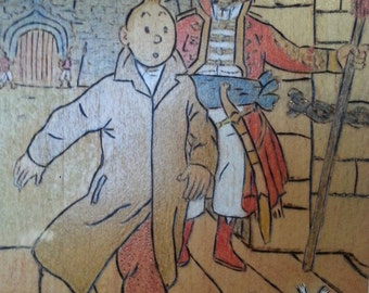 Vintage handmade wooden wall decoration collectible Tintin comic book character