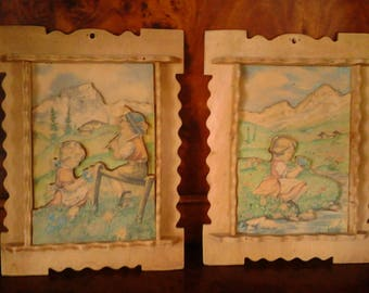 Check discussed in carved wood from the children's room. years ' 40-50 's vintage