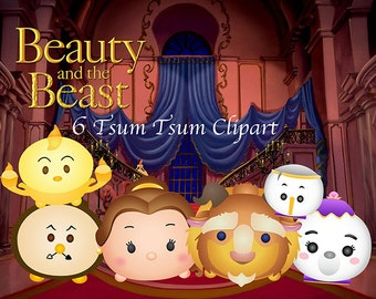 Beauty and the Beast Tsum Tsum. 6 High Resolution Digital Clipart. Princess Birthday Party. Baby shower. Party Supplies.