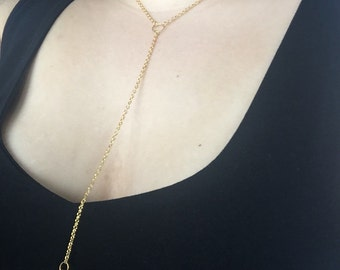 Gold Y necklace with cubed diamante pendant