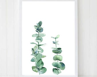 Eucalyptus Leaves, Watercolor Leaves, Tree Branch, Nature Decor, Kitchen Wall Art, Plant Print, Botanical Illustration, Minimalist Print.