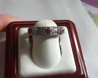 Judith Ripka Sterling Silver Triple Ruby Diamonique Ring - Size 6