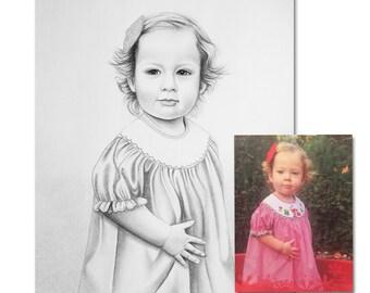 Custom Portrait Pencil Sketch from Photo, Custom Pencil Portrait, Custom Portrait, Child Portrait, Custom Gift, Child Photo, From Photo