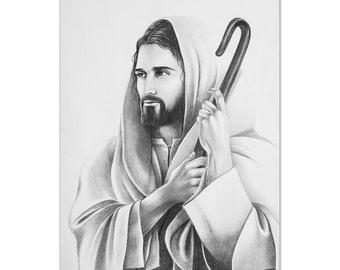 Drawing of Jesus Christ, Sketch of Jesus, Christian Pencil Sketch, Good Shepherd Artwork, Christian Wall Art, Pencil Sketch, Religious Art