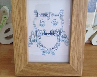 A4 Personalised Word Art Owl Print (UK ONLY)/Download