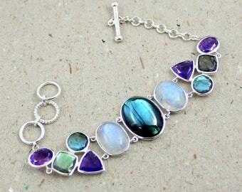 labradorite bracelet, silver moonstone bracelet, multi stone bracelet, amethyst cut bracelet, 925 sterling silver, adjustable bracelet gift