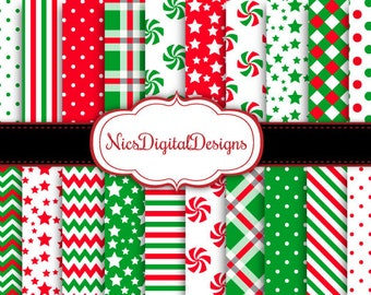 Buy 2 Get 1 Free-20 Digital Papers. Pretty Patterns in Red and Green (2C no 1) for Personal Use and Small Commercial Use Scrapbooking