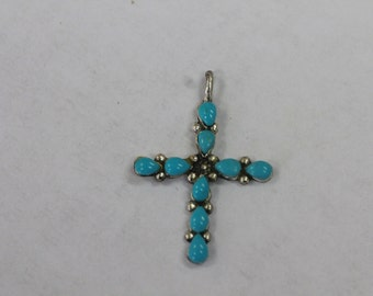 925 Sterling Silver Turquoise Cross Pendant