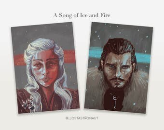 Game of Thrones: Song of Ice and Fire - Jon Snow / Daenerys Targaryen - A4 Art Print