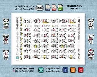 Mini Naughty Panda Bears, Printable Planner Stickers Instant Download