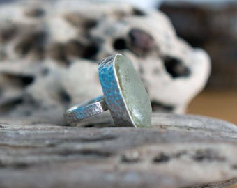 Handmade seaglass ring, sea glass ring, clear glass ring, UK size Q 1/2 ring, US size 8.5 ring, No. 18 size ring