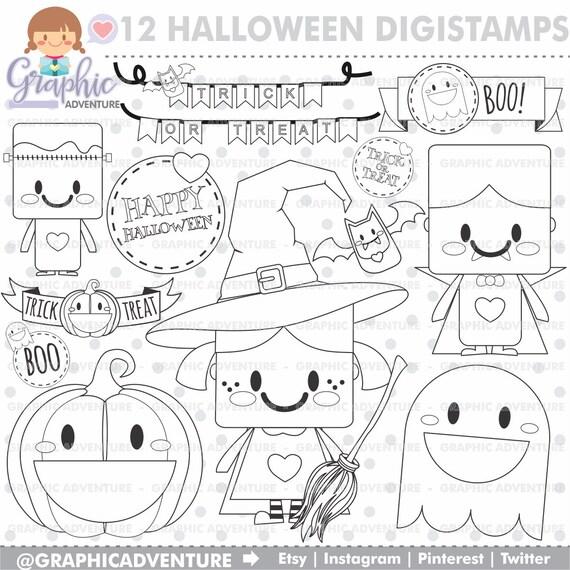 75OFF Halloween Stamp COMMERCIAL USE Digi Stamp Digital