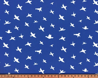 Bird Silhouette Cobalt/Twill, Fabric by the Yard