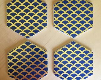 Coasters, Gold Coasters, Navy Coasters, Decorative Coasters, Set of 4 Coasters, Tile Coasters, Drink Coasters, Ceramic Coasters