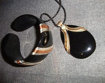 Paula Bolton Resin with Copper Matching Bracelet and Necklace - Elegance