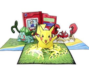 Pokemon Pop-Up - DIY Paper Craft Kit - Pikachu - Krabby - Bulbasaur - Pokedex - Paper Toys Pokemon