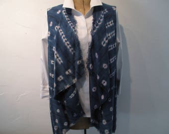 Long drape front vest created with indigo batik mud cloth fabric from Africa-size medium