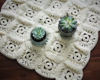 Set of two decorative crochet - headrests vintage rug