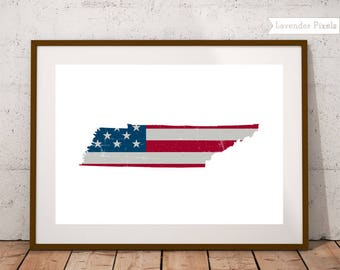 State outlines Map art US map poster USA map wall art America Printable wall art Entryway art decor Fourth of july New home gift Tennessee