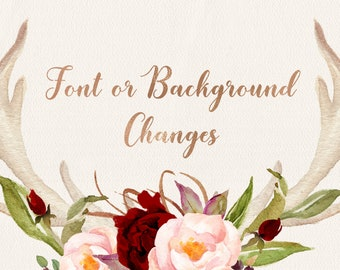 FONT or BACKGROUND CHANGES, Add on listing for font or background changes to the existing design