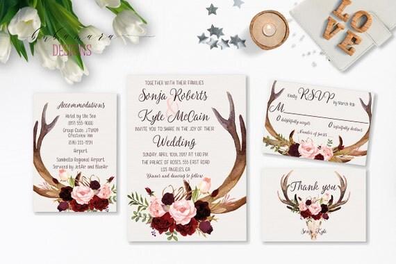 Deer Wedding Invitations: Deer Antlers Burgundy Printable Wedding By BubamaraDesigns