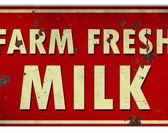 Vintage Style Farm Fresh Milk Metal Sign (Rusted)