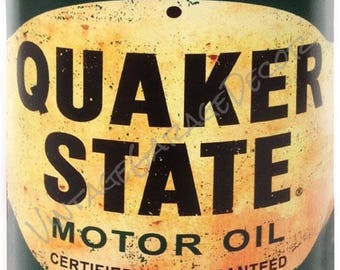 """Reproduction """" Quaker State Motor Oil """" Metal Can Cutout Sign"""