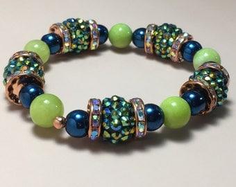 Lime Green and Blue Bracelet, handmade bracelet