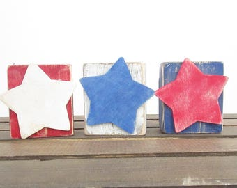 Red, White and Blue Rustic Decor-Americana Decor-Fourth of July Decor