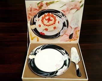 Cake Plate & Server Set (Boxed) in Charisma Black by Mikasa