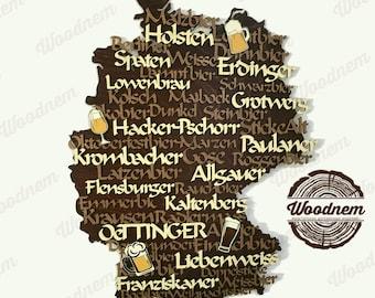 3D карта Германии и сортов пива из дерева. Wooden map