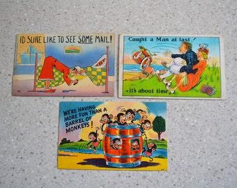 Vintage Linen Postcards - 3 Humorous Old Postcards - Comic 1940's Postcards - Greeting Cards -  Unused Vintage Postcards