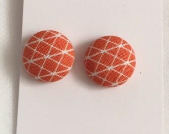 20mm Orange Geometric Fabric Studs