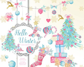 Christmas Clipart Watercolor Christmas Clip Art Pastel Christmas Tree and Ornaments Handpainted